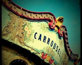 Carousel photo carnival art Circus print vintage merry go round pale yellow turquoise