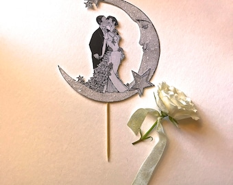 Art Deco Wedding Cake Topper  - Bride and Groom - Moon and Stars- Great Gatsby-Luminescent