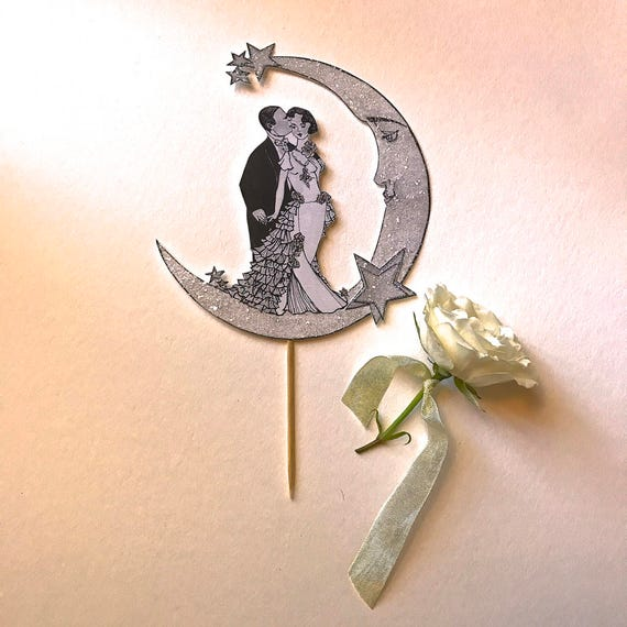 Art Deco Wedding Cake Topper. Bride and Groom Cake Topper. Moon Cake topper. Great Gatsby Cake Topper. Celestial Cake Topper