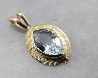 Nouveau Style, Aquamarine Layering Pendant in Yellow and Green Gold 4M8WCC-D