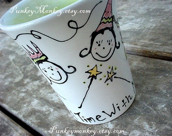 You design pottery mug custom personalized kids cup or adult mug MADE TO ORDER