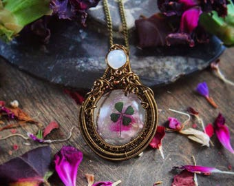 Four Leaf Clover with Purple Flower and Rainbow Moonstone Vintage Brass Wire Wrap Pendant Necklace