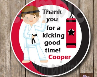 Personalized Karate Favor Tag -Martial Arts Birthday Party - Taekwondo Party Tags