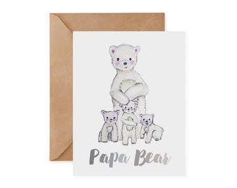 Polar Bear Father's Day Card / Papa Bear - Dad, EcoFriendly Card, Conservation, Recycled, Green, Eco, Ethical, Sustainable