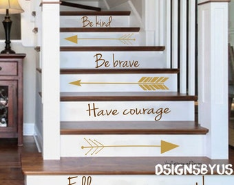 Stair lettering arrow decal