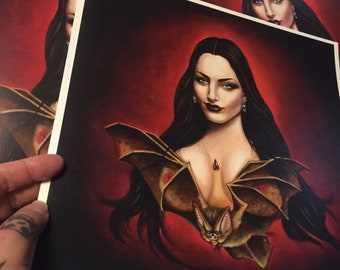 Draculas daughter - art print from original oil painted - gothic haunted house decor signed by the artist