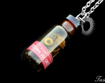 Steampunk Bottle Gear Necklace, Glass Vial Pendant, Long Victorian Gothic Jewelry, Bottle Necklace