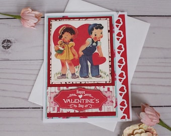 Happy Valentine's Day note card, handmade vintage style card, paper handmade greeting cards Love notes
