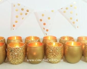 12 Votive Candle Holders, Gold Candle Holder, Tealight Holder, Bridal Shower Decorations, Wedding Centerpiece, Wedding Decor, Gold Decor
