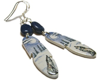 Ceramic Feather Hand Crafted Artisan Beaded Sterling Silver Earrings By SoniaMcD