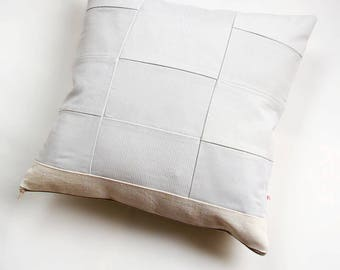 Linen-Organza Patchwork Pillow, Cushion Cover, Patchwork Pillow, Hand weaving, Complete Rustic Cushion , Natural color 46x46