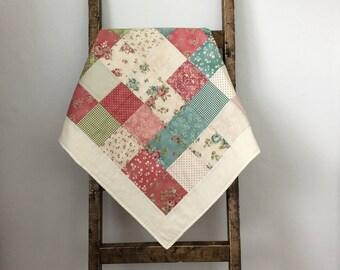 Floral baby quilt - handmade quilt -  tummy time mat - baby blanket - nursery decor - baby shower gift - stroller blanket - pink, green