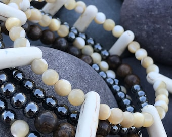 Memory Wire Bracelet Mother of Pearl, Howlite, Hematite, and Agate