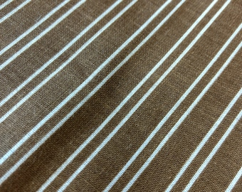 Cute brown and white cotton stripe fabric, 1970s vintage