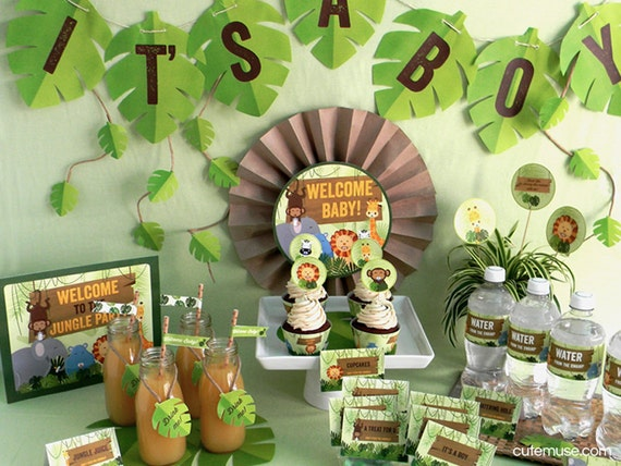 Jungle safari theme baby shower printable party package for Baby shower decoration packages