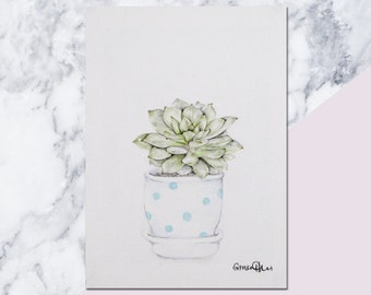 UP TO 40% OFF - Succulent Original Pencil Drawing - gift for a green thumb or aspiring gardener, One of a Kind