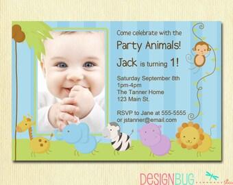 First Birthday Boy Invitation - Baby Jungle Safari Party Invites  - Baby Boy 1st Birthday - 1,2,3 Year Old - Printable Photo Invitation