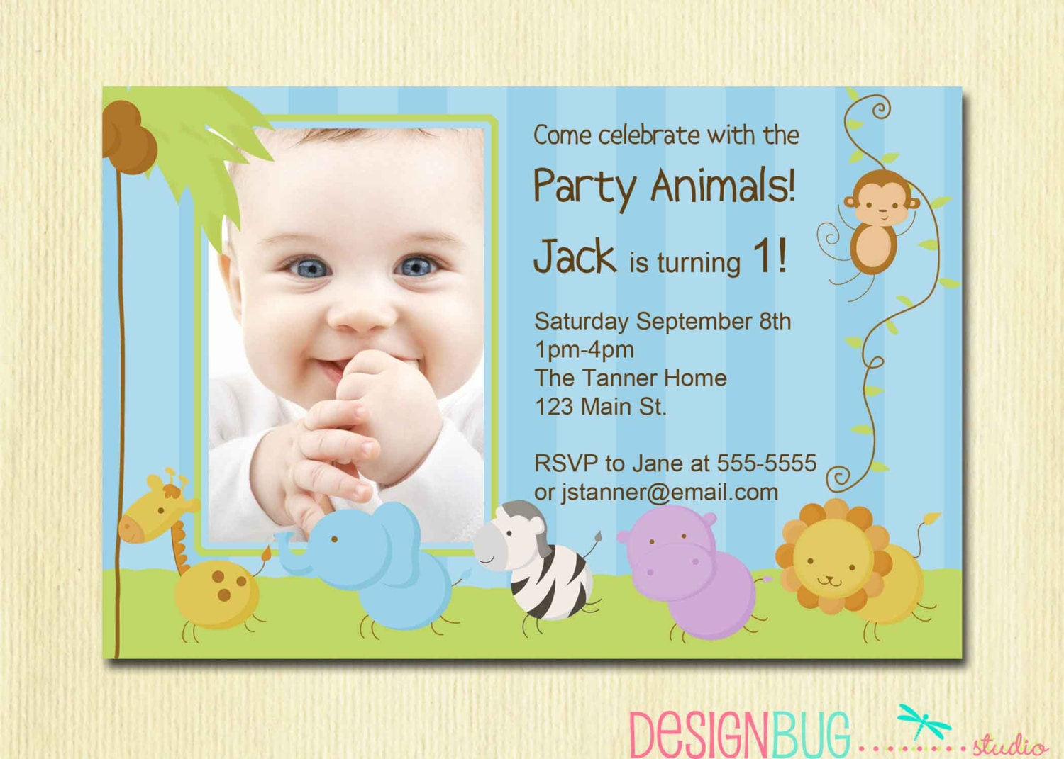 First Birthday Boy Invitation Baby Jungle Safari Party