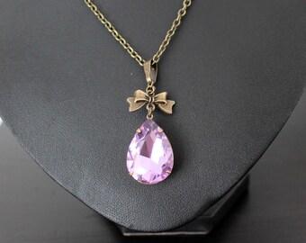Necklace, vintage drop-lilac, necklace, necklace, pendant, steampunk, fantasy