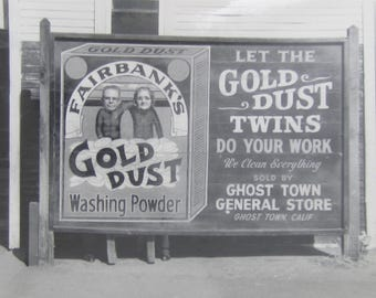 Goofy Gold Dust Twins - 1950's Gold Dust Washing Powder Ghost Town Carnival Photograph - Free Shipping
