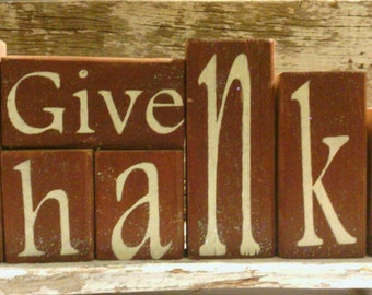 Give Thanks Wood Glitter Blocks Shelf Sitter Blocks Brown Thanksgiving Decoration Wood Glitter Blocks