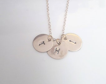 Tiny Gold Initial Necklace, Multi Disc Gold Letter Charm, Personalized Bridesmaids Gift, Minimalist Jewelry