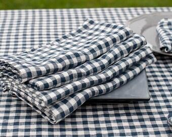 Linen Washed Napkins, Linen Napkins, Blue/WhiteLinen Napkins, Table Decoration, Dining Table Napkins, Christmas Gift