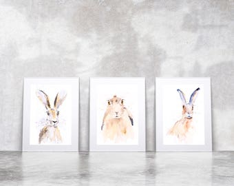 Hand Signed limited Edition Prints of my Original Water Colour Paintings of Hares, Animal Art Wall decor, wildlife animal art, Hare painting