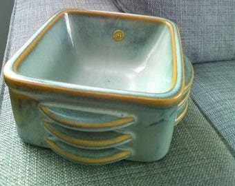 Pale blue ceramic bowl. Soholm ridged bowl. Bornholm Stentoj. Danish ceramic bowl. Soholm Denmark. Bornholm bowl. Soholm bowl. Mid century.