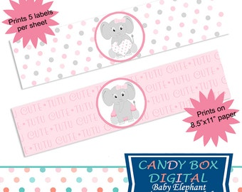 Ready-To-Print Girl Baby Elephant Water Bottle Labels or Napkin Wraps for Baby Shower DIY - Commercial Use OK
