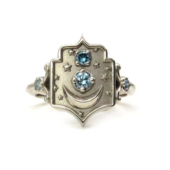 Window to my Moon Midi Ring- Boho Fine Jewelry - Choose Your Gems - 14k Yellow, Rose or Palladium White Gold