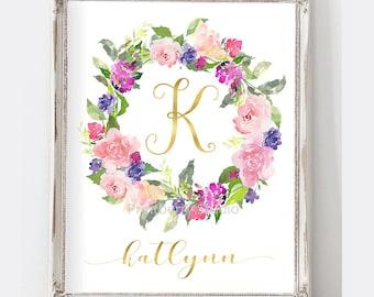 Monogram Nursery Wall Art, Watercolor Floral Art, Nursery Art Purple, Printable Digital Art