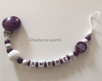 Pacifier, pacifier clip girl personalized name violet wood