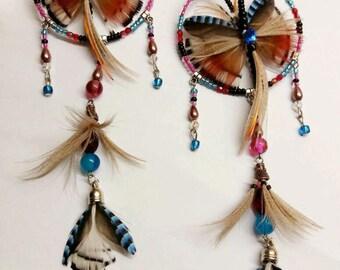 Butterfly dreamcatcher earrings Blue earrings Long bohemian earrings Native american earrings Festival feather earrings Dangle Boho Jay