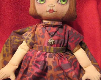 Art Doll, OOAK Cloth Doll, Handmade, Girl Doll, Pixie Doll, Collectible