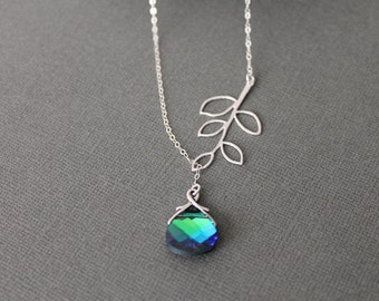 Aqua Green Sphinx Swarovski Briolette and Branch Lariat Necklace in STERLING SILVER CHAIN---Bridesmaids Gift Perfect Gift Birthday present
