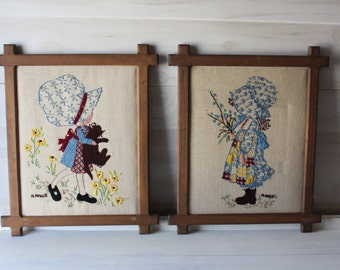 Two Holly Hobbie Vintage Yarn Embroidered Framed Pictures, Creweled
