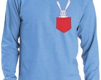 Funny Pocket Easter Bunny Long Sleeve T-Shirt