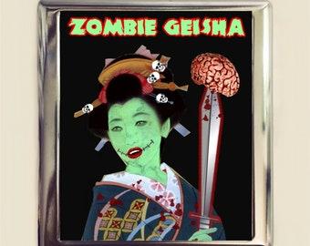 Zombie Geisha Cigarette Case Business Card ID Holder Wallet Goth Gothic Horror Japanese