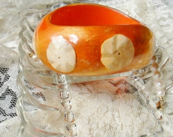 Wide Orange Bangle Bracelete, Thick Lucite Cuff Bracelet with Embedded Shells
