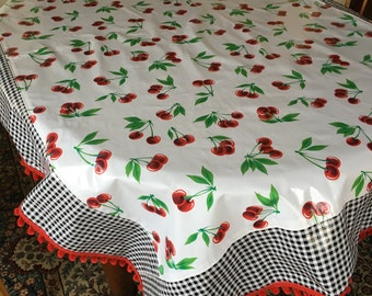 Retro two patterned cherries and gingham oilcloth tablecloth