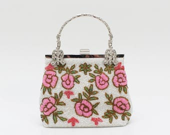 Pink and White Floral Beaded Handbag - Vintage 1960s Beaded Purse