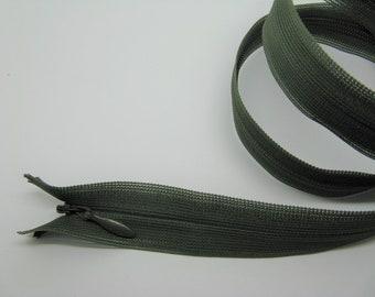 Zipper 60cm adjustable olive green invisible zip - ref 15 has