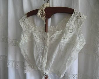 Vintage Camisole corset Bustier Camisole antique ~ old white sewing ~ Bohème french boudoir shabby chic