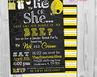 Bee Gender Reveal Invitation Printable, What will it Be Theme, What will it Bee Gender Reveal Party Invite,  Chalkboard Style, Blue or Pink