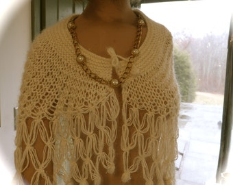 Elegant Handmade Off White With Sparkly Yarn Hand Knit  Shawl SZ S-M Bridal Shawl, Summer Shawl,Evening Shawl