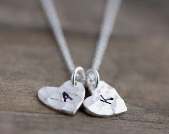 Heart Mommy Necklace, Mother Gift, Custom Hand Stamped Necklace Jewelry, Personalized Gift for Mom, Mother's Day from Daughter or Son