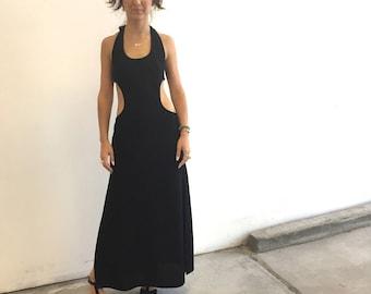 Vintage 70s Knock Out-  Cut Out Maxi Dress - Black Halter Dress - Side Slits - Small Medium