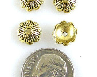 TierraCast Pewter Bead Caps-Antique Gold Oasis (4)