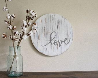 Rustic Love Sign - Farmhouse  Wall Decor - Wooden Signs -  Chippy - Fixer Upper Decor - White Farmhouse Sign - Modern Farmhouse Decor